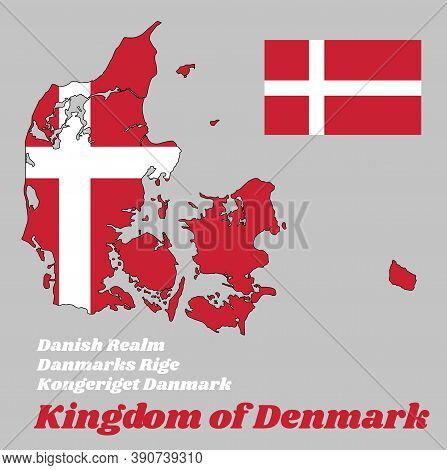 Map Outline And Flag Of Denmark,  It Is Red With A White Scandinavian Cross That Extends To The Edge