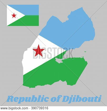 Map Outline And Flag Of Djibouti, A Horizontal Bi-color Of Light Blue And Light Green, With A White