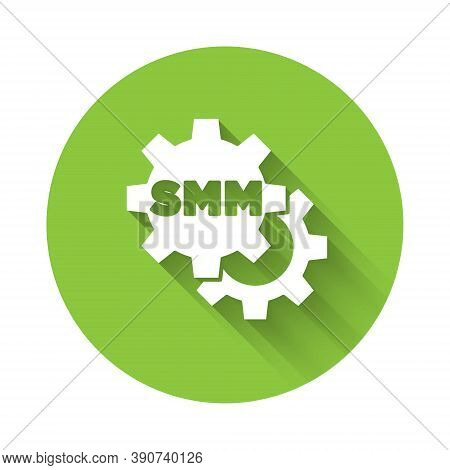 White Smm Icon Isolated With Long Shadow. Social Media Marketing, Analysis, Advertising Strategy Dev