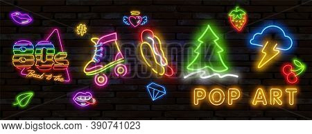 Pop Art Icons Set. Pop Art Neon Sign. Bright Signboard, Light Banner. Vector Illustration Pop Art Ic