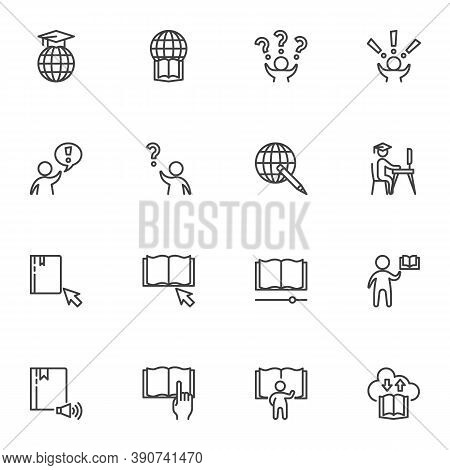 Distance Education Line Icons Set, Outline Vector Symbol Collection, Linear Style Pictogram Pack. Si