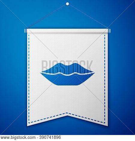 Blue Smiling Lips Icon Isolated On Blue Background. Smile Symbol. White Pennant Template. Vector