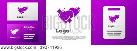 Logotype Two Linked Hearts Icon Isolated On White Background. Romantic Symbol Linked, Join, Passion