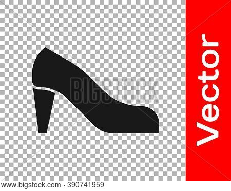 Black Woman Shoe With High Heel Icon Isolated On Transparent Background. Vector