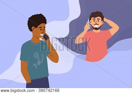 Two Handsome Men Talking On Mobile Phone. Black Guy Calling Friend By Smartphone. People Conversatio