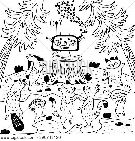 Radio Party Beasts In The Woods. Disco Animal At The Edge. Black And White Coloring Vector Illustrat
