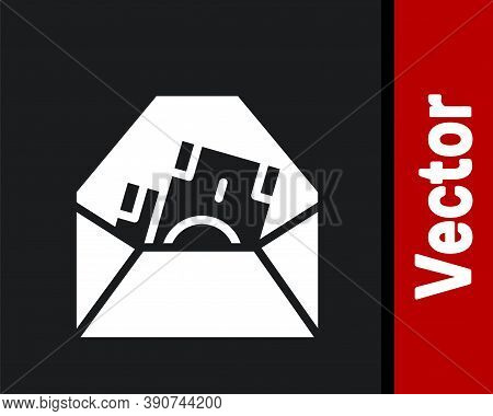 White Envelope With Coin Dollar Symbol Icon Isolated On Black Background. Salary Increase, Money Pay