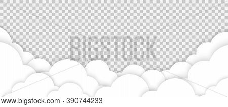 White Clouds. Paper Style Clouds. Abstract Clouds. Concept Clouds. Clouds On Transparent Background.