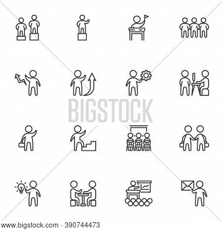 Business Teamwork Line Icons Set, Business People Group Outline Vector Symbol Collection, Linear Sty