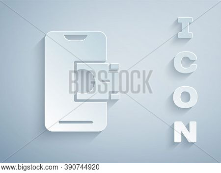 Paper Cut Mobile Banking Icon Isolated On Grey Background. Transfer Money Through Mobile Banking On