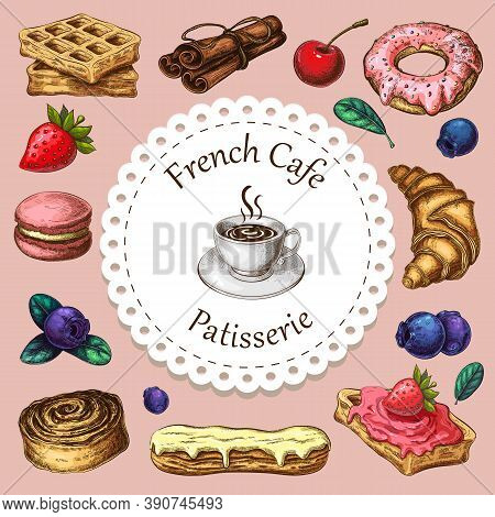 Cafe, Patisserie Or Bakery Banner, Poster Or Background With Pastries And Desserts Icons Around Cup