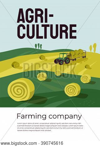 Vector Illustration Of Agriculture With Tractor, Hayfield, Haystack Rolls In Farm Land. Machinery, F