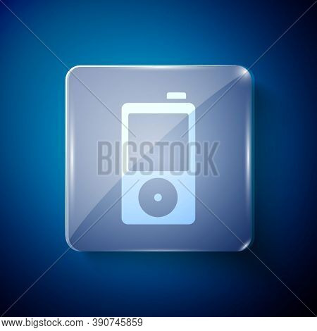 White Music Player Icon Isolated On Blue Background. Portable Music Device. Square Glass Panels. Vec