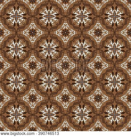 Unique Circle Pattern On Bantul Batik Concept With Elegant Brown Color Design.