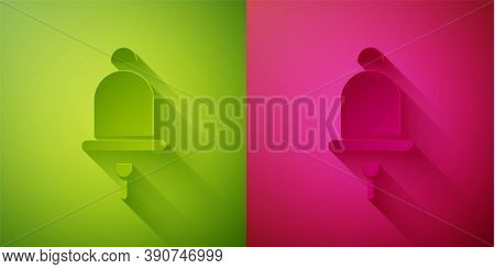 Paper Cut Ringing Alarm Bell Icon Isolated On Green And Pink Background. Fire Alarm System. Service