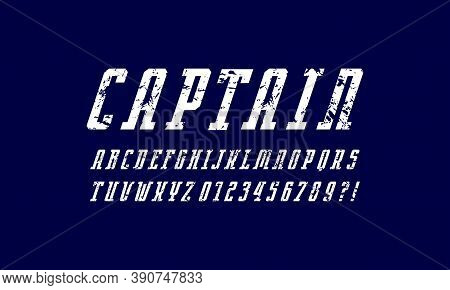 Oblique Narrow Serif Font In Sport Style. Letters And Numbers With Rough Texture For Logo And Emblem