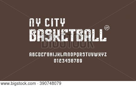 Sans Serif Font With Rounded Corners. Bold Face. Letters And Numbers With Rough Texture For Sport Lo