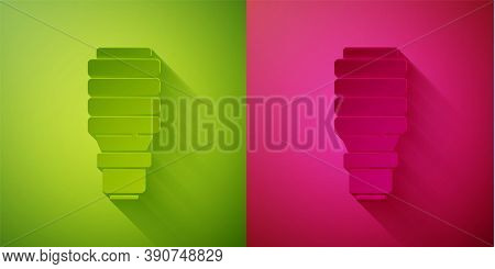 Paper Cut Led Light Bulb Icon Isolated On Green And Pink Background. Economical Led Illuminated Ligh