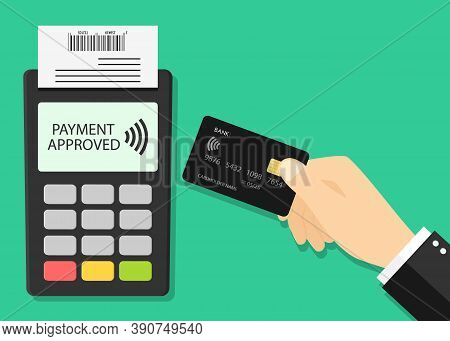 Card Payment On Pos. Credit Card And Terminal With Contactless Of Pay. Hand With Machine For Cashles