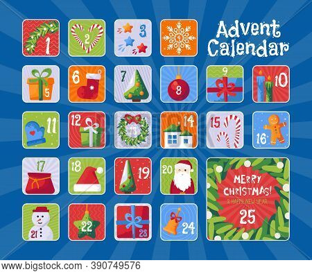 Christmas Advent Calendar With Cute Illustrations. Christmas Stickers
