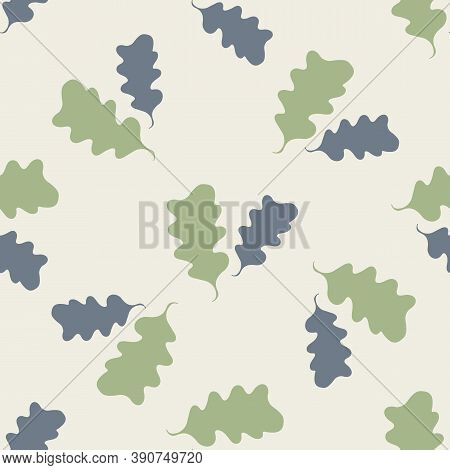 Pairs Of Green Oak Leaves Seamless Pattern Background. Hand Drawn Forest Foliage Silhouettes On Beig