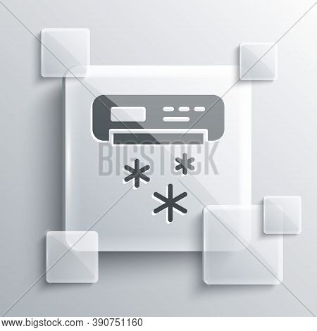 Grey Air Conditioner Icon Isolated On Grey Background. Split System Air Conditioning. Cool And Cold