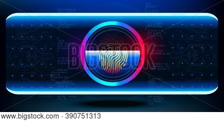Biometric Scanner. Fingerprint Scan. Cyber Security Concept Banner. Account Control With Password Or