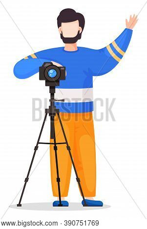 Photographer Or Paparazzi Attract Attention To Take Photo With Reflex Camera At Tripod. Amateur Shoo