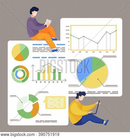 Two Workers Analysing Statistic, Financial Analytics. Partners Working With Chart, Graph, Diagram, S