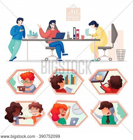 People Communicating, Working At Office. Teamwork Concept. Set Of Honeycomb Icons With Mix Race Peop