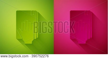 Paper Cut Oath On The Holy Bible Icon Isolated On Green And Pink Background. The Procedure In Court.