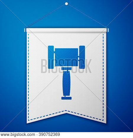 Blue Judge Gavel Icon Isolated On Blue Background. Gavel For Adjudication Of Sentences And Bills, Co