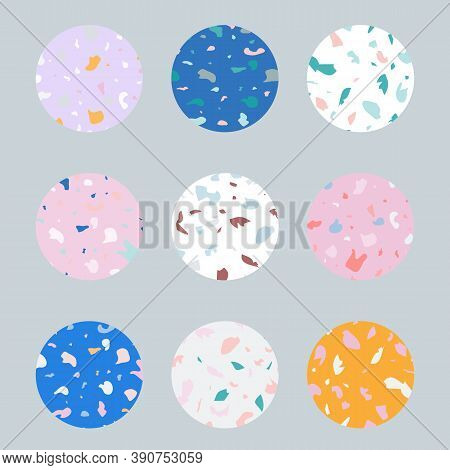 Different Blogger Icons In Trendy Terranzzo Texture Isolated On Light Blue. Vector Set Design Colorf