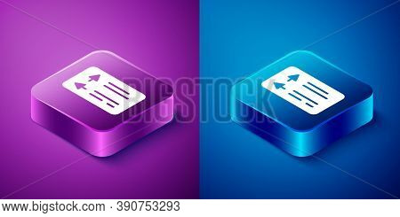 Isometric Road Traffic Sign. Signpost Icon Isolated On Blue And Purple Background. Pointer Symbol. S