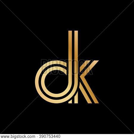 Lowercase Letters O And K. Flat Bound Design In A Golden Hue For A Logo, Brand, Or Logo. Vector Illu