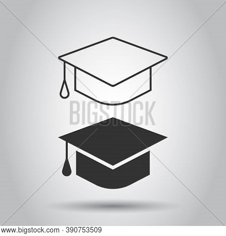 Graduation Hat Icon In Flat Style. Student Cap Vector Illustration On White Isolated Background. Uni