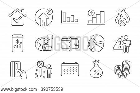 Loan, Hot Loan And Graph Chart Line Icons Set. Payment Methods, Payment Card And Discount Signs. Coi