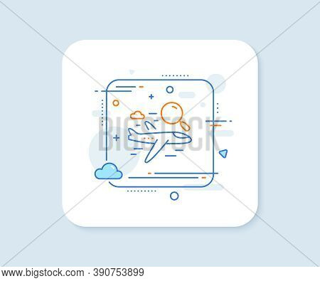 Search Flight Line Icon. Abstract Square Vector Button. Airplane With Magnifying Glass Sign. Find Ai