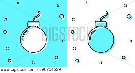 Black Line Bomb Ready To Explode Icon Isolated On Green And White Background. Random Dynamic Shapes.
