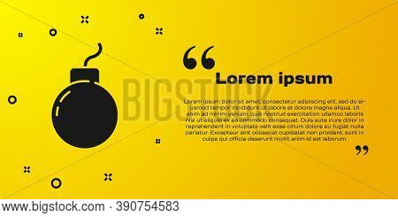 Black Bomb Ready To Explode Icon Isolated On Yellow Background. Vector