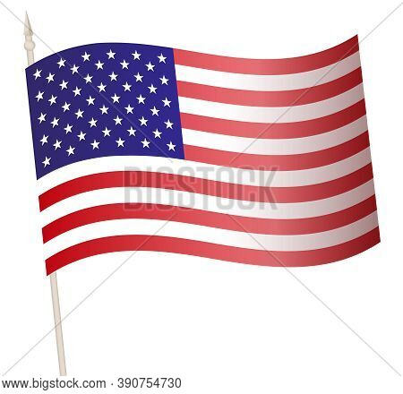 Vector Waving Flag On A Flagpole. The National Flag Of Usa.