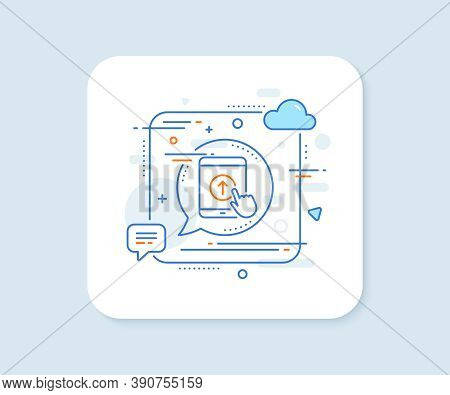 Swipe Up Tablet Pc Line Icon. Abstract Square Vector Button. Scrolling Arrow Sign. Landing Page Scro