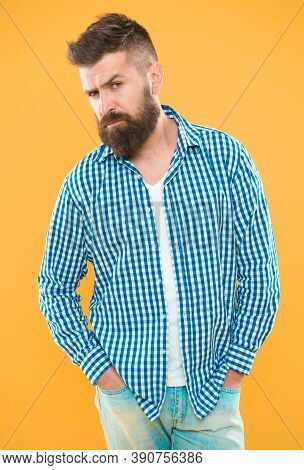 Having Some Doubts. Beard Fashion And Barber Concept. Man Bearded Hipster Beard Yellow Background. B