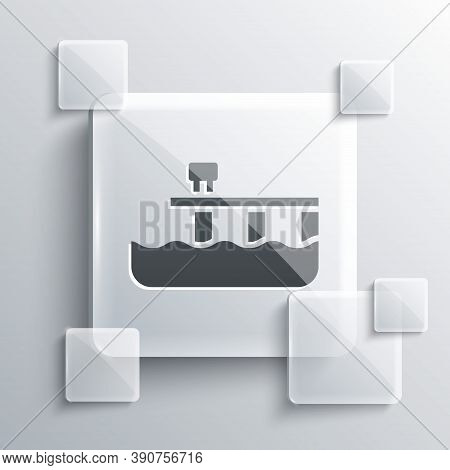 Grey Beach Pier Dock Icon Isolated On Grey Background. Square Glass Panels. Vector
