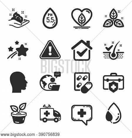 Set Of Healthcare Icons, Such As Capsule Pill, Ambulance Car, Leaves Symbols. Local Grown, Anti-dand