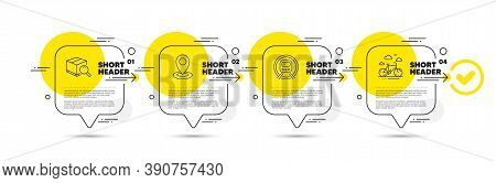 Metro Subway, Search Package And Location Line Icons Set. Timeline Infograph Speech Bubble. Bike Ren