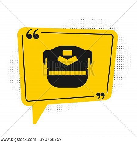 Black Pilot Hat Icon Isolated On White Background. Yellow Speech Bubble Symbol. Vector