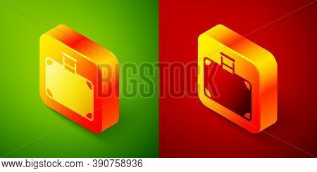 Isometric Suitcase For Travel Icon Isolated On Green And Red Background. Traveling Baggage Sign. Tra