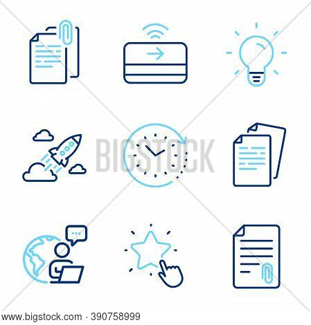 Education Icons Set. Included Icon As Documents, Attachment, Startup Rocket Signs. Light Bulb, Conta
