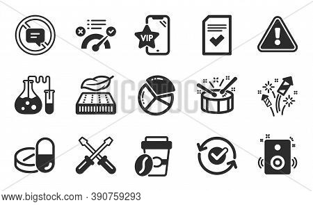 Drums, Chemistry Lab And Medical Drugs Icons Simple Set. Fireworks Rocket, Correct Answer And Checke